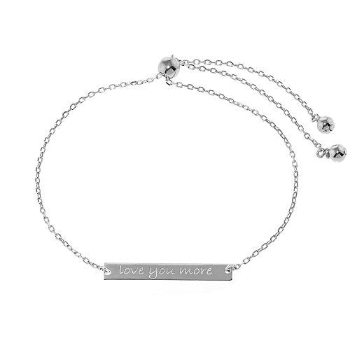 """Sterling Silver """"Love You More"""" Adjustable Bar Bracelet"""