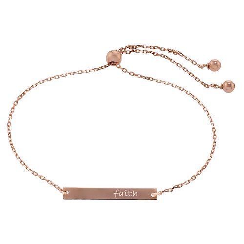 """Fine Plate 14k Rose Gold Over Sterling Silver """"Faith"""" Adjustable Bracelet"""