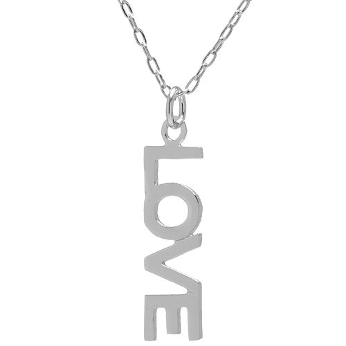 """Sterling Silver """"Love"""" Vertical Necklace"""