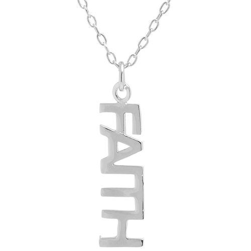 """Sterling Silver """"Faith"""" Vertical Necklace"""