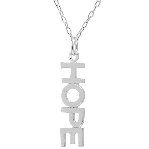 "Sterling Silver ""Hope"" Vertical Necklace"