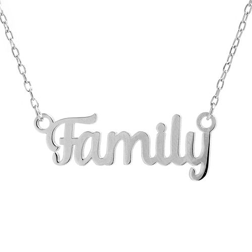 """Sterling Silver """"Family"""" Script Necklace"""