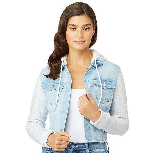 Juniors' Wallflower Knit Sleeve Dreamer Cropped Jacket