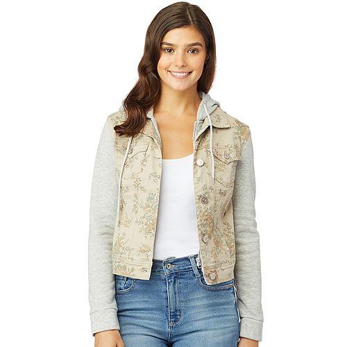 Juniors' Wallflower Knit Sleeve Dreamer Printed Jacket