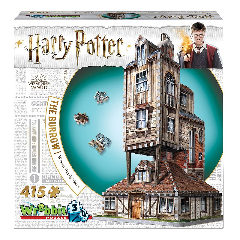 Wrebbit Harry Potter The Burrow Weasley Family Home 415-Piece 3D Puzzle The whole family will enjoy working together to build this Wrebbit Harry Potter The Burrow Weasley Family Home 415-Piece 3D Puzzle. The whole family will enjoy working together to build this Wrebbit Harry Potter The Burrow Weasley Family Home 415-Piece 3D Puzzle. 415 pieces Unique Foam Backing Technology providing snug tight fitting pieces and sturdy design Assembled dimensions: 8.75 inches L x 8.75 inches W x 15.5 inches H Stunning illustrations Small, colorful and easy to build, ideal for beginners 3D Puzzle WHAT'S INCLUDED 415 puzzle Pieces and one Assembly Instruction Leaflet 15.5 x 8.75 x 8.75 in Age: 14 years & up Assembly required Polyethylene Foam and Paper Spot clean Imported WARNING: This product can expose you to chemicals including polyethylene, which is known to the State of California to cause cancer. For more information, go to www.P65Warnings.ca.gov.. For more information go to www.P65Warnings.ca.gov. MODEL NUMBERS W3D-1011 Size: One Size. Color: Multicolor. Gender: unisex. Age Group: kids.