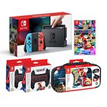 Nintendo Switch Bundle with Mario Kart and Joy-Con Wheel and Case