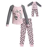 Girls 4-14 Dollie & Me 2-Piece Printed Rib Snug Fit Sleep Set with Doll Set