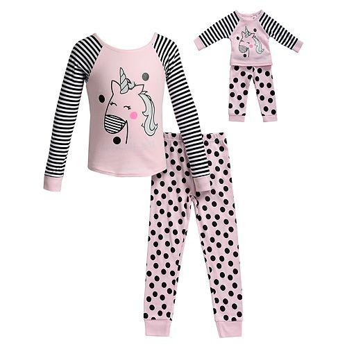 Girls 4-14 Dollie & Me 2-Piece Printed Rib Snug Fit Sleep Set with Doll Set