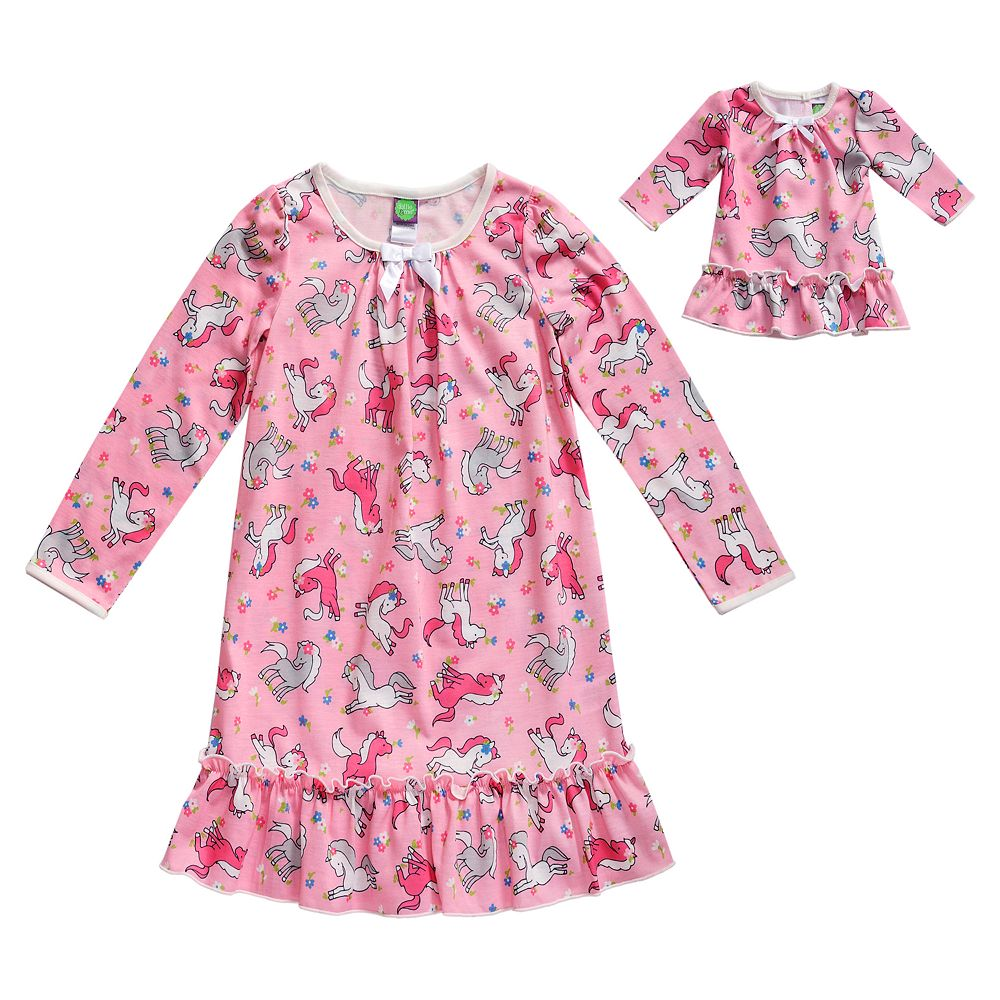 Girls 4-14 Dollie & Me Printed Sleep Gown with Matching Doll Piece