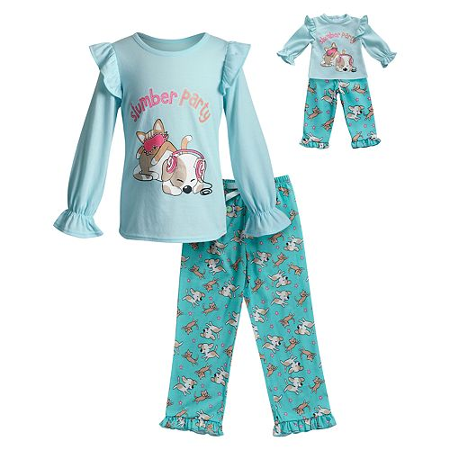 Girls 4-14 Dollie & Me 2-Piece Printed Knit Sleep Set with Doll Set