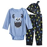 Disney / Pixar Monsters Inc. Baby Boy Bodysuit, Pants & Hat Set by Jumping Beans®