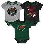 Baby Minnesota Wild 3-Pack Cuddle & Play Bodysuits