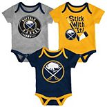Baby Buffalo Sabres 3-Pack Cuddle & Play Bodysuits