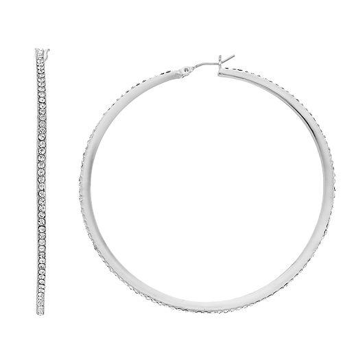 Nine West Pave Large Hoop Earrings