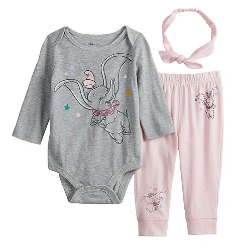 Disney's Dumbo Baby Girl Bodysuit, Pants & Headband Set by Jumping Beans®