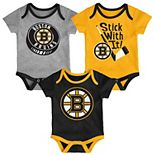 Baby Boston Bruins 3-Pack Cuddle & Play Bodysuits