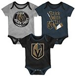 Baby Vegas Golden Knights 3-Pack Cuddle & Play Bodysuits