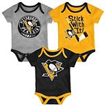 Baby Pittsburgh Penguins 3-Pack Cuddle & Play Bodysuits