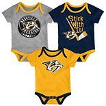 Baby Nashville Predators 3-Pack Cuddle & Play Bodysuits