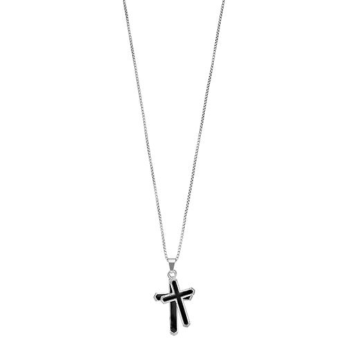 Men's 1913 Two Tone Stainless Steel Double Cross Pendant Necklace