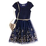 Girls 7-16 Knit Works Skater Short Sleeve Flower Lace Dress & Purse