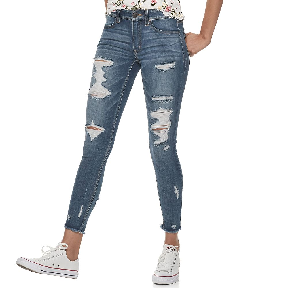 Juniors SO® Low-Rise Destructed Ankle Jeggings