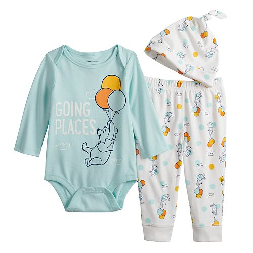 Disney's Winnie The Pooh Baby Graphic Bodysuit, Printed Pants & Hat Set by Jumping Beans®