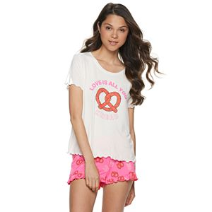Juniors' SO Ruffle Graphic Print Pajama Set