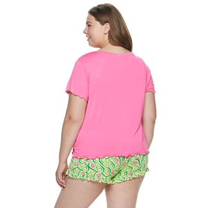 Juniors' Plus Size SO Ruffle Graphic Print Pajama Set