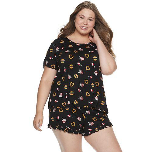 Juniors' Plus Size SO® Ruffle Graphic Print Pajama Set