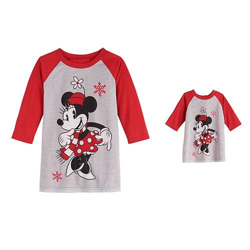 Disney's Minnie Mouse Toddler Girl Nightgown & Matching Doll Gown by Jammies For Your Families