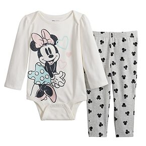Disney's Minnie Mouse Baby Girl Graphic Bodysuit & Print Leggings Set by Jumping Beans®