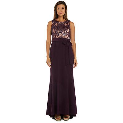 Petite R&M Richards Sequin & Lace Trumpet-Hem Evening Gown