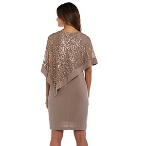 Petite R&M Richards Sequin Poncho Dress