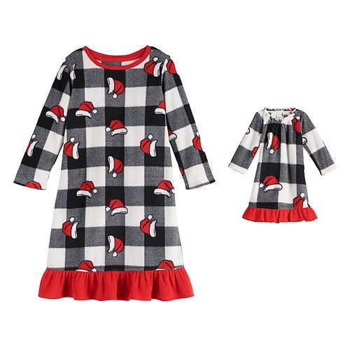 Toddler Girl Jammies For Your Families Jolly Santa Family Microfleece Nightgown & Doll Gown Set
