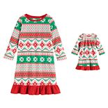 "Toddler Girl Jammies For Your Families ""We Jingled"" Microfleece Nightgown & Matching Doll Gown"