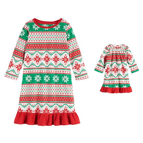 """Toddler Girl Jammies For Your Families """"We Jingled"""" Microfleece Nightgown & Matching Doll Gown"""