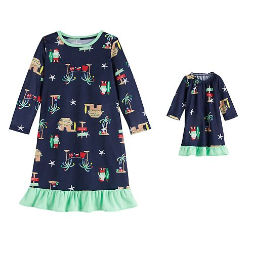 Toddler Girl Jammies For Your Families Flip Flop Holiday Family Knit Nightgown & Doll Gown Set