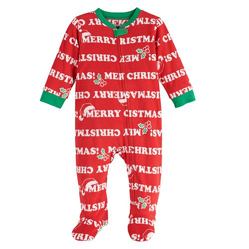 Baby Jammies For Your Families Santa Ho Ho Ho Family Microfleece Blanket Sleeper One-Piece Pajamas