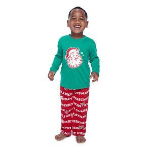 Toddler Jammies For Your Families Santa Ho Ho Ho Family Tee & Pants Pajama Set