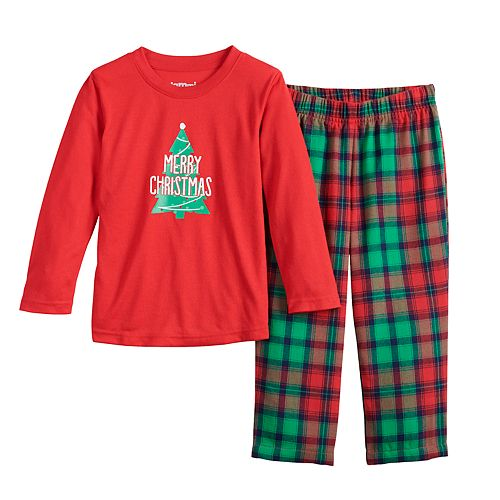 Toddler Boy Jammies For Your Families Red Plaid Merry Christmas Family Tee & Pants Pajama Set
