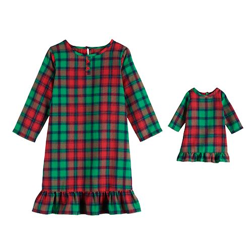 Toddler Girl Jammies For Your Families Red Plaid Notch Family Nightgown & Doll Gown Set