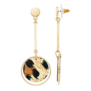 Nine West Animal Print Disc Drop Earrings