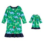 Toddler Girl Jammies For Your Families Dino Family Microfleece Nightgown & Doll Gown Set