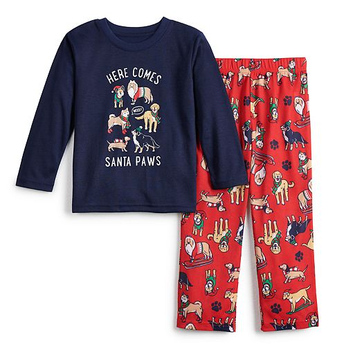 Toddler Jammies For Your Families Here Comes Santa Paws Tee & Pants Pajama Set