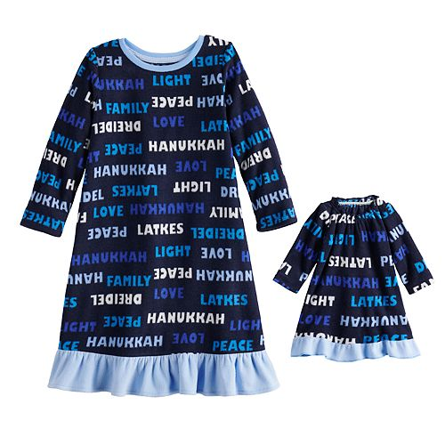 Toddler Girl Jammies For Your Families® Hanukkah Family Microfleece Nightgown & Doll Gown Set
