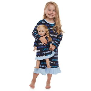 Toddler Girl Jammies For Your Families Hanukkah Family Microfleece Nightgown & Doll Gown Set