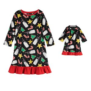 Toddler Girl Jammies For Your Families Milk & Cookies Family Microfleece Nightgown & Doll Gown Set