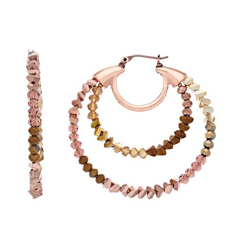 Simply Vera Vera Wang Rose Gold Tone Beaded Hoop Click It Earrings