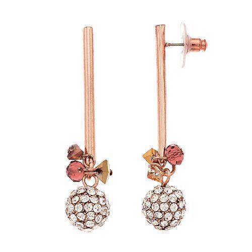 Simply Vera Vera Wang Rose Gold Tone Linear Fireball Post Earrings